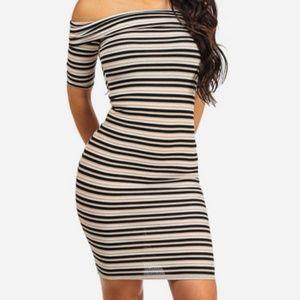 Dresses & Skirts - Women's Striped Off-shoulder Bodycon Dress